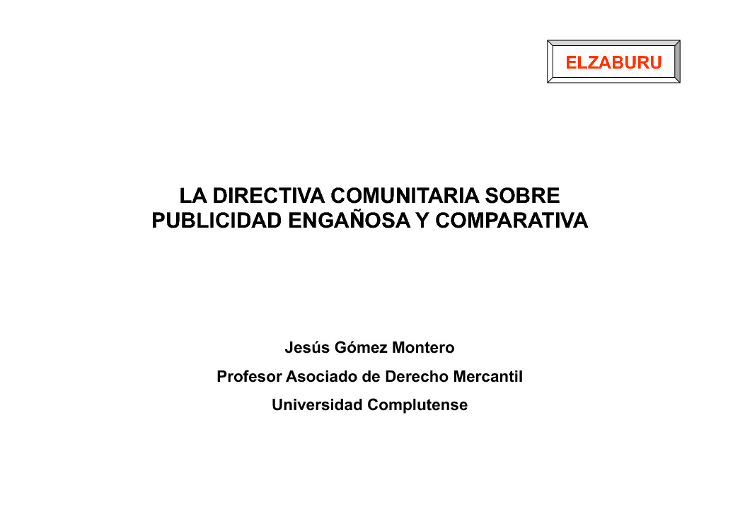 A Directiva comunitaria sobre publicidade enganosa e comparativa